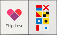 "Facebook Motivational Posters (Facebook, 2010s). Screen Print Posters (2) (16"" X 20"") ""Ship Love."" M..."