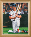 Baseball Collectibles:Others, 1990's Ted Williams Signed Original Painting by George Wright....