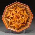 Decorative Arts, Continental, An Octagonal Mahogany, Satinwood, and Fruitwood Parquetry Tray,20th century. 17 inches diameter (43.2 cm). ...