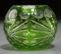 Decorative Arts, Continental, A Small Globular Green-to-Clear Cut Glass Vase, 20th century. 3inches high (7.6 cm). ...