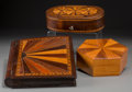 Decorative Arts, Continental, Three Mahogany, Pine, and Fruitwood Inlaid Parquetry Boxes, 20thcentury. 1-3/8 h x 10-5/8 w x 8-1/2 d inches (3.5 x 27.0 x ...(Total: 3 Items)