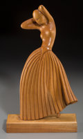 Decorative Arts, American, An Art Deco Carved Blondewood Figure of a Woman, circa 1925. 14-3/8inches high (36.5 cm). ...