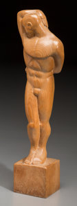 Decorative Arts, Continental, An Art Deco Carved Oak Figure of a Nude Male, 20th century. 21-7/8inches high (55.6 cm). ...
