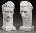 Ceramics & Porcelain, A Pair of Large Art Deco Painted Earthenware Male and Female Busts, 20th century. 18-7/8 inches high (47.9 cm). ... (Total: 2 Items)