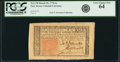 Colonial Notes:New Jersey, New Jersey March 25, 1776 6 Shillings Fr. NJ-178 PCGS Very ChoiceNew 64.. ...