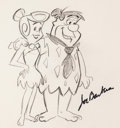 Animation Art:Production Drawing, The Flintstones Fred and Wilma Sketch Signed by Joe Barbera(Hanna-Barbera, undated)....