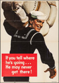 """Movie Posters:War, World War II Propaganda (U.S. Government Printing Office, 1943).Poster (28.5"""" X 42"""") """"If You Tell Where He's Going..."""" War...."""