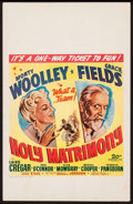 "Movie Posters:Comedy, Holy Matrimony (20th Century Fox, 1943). Window Card (14"" X 22""). Comedy.. ..."