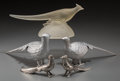 Decorative Arts, Continental, Two Pairs of Silvered Metal Pheasants with Associated Frosted GlassPheasant, 20th century. 5-5/8 inches high x 11-1/4 inche... (Total:5 Items)