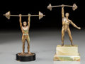 Decorative Arts, Continental, Two Small Bronzes of Weight Lifters, 20th century. 6-5/8 incheshigh (16.8 cm) (taller). ... (Total: 2 Items)