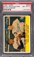 Baseball Cards:Singles (1950-1959), 1958 Topps Rival Fence Busters Mays/Snider #436 PSA NM-MT 8....
