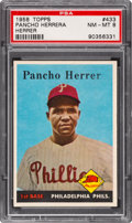 "Baseball Cards:Singles (1950-1959), 1958 Topps Pancho Herrera, Missing ""a"" Error #433 PSA NM-MT 8 - Only One Higher!..."