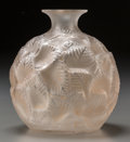 Art Glass:Lalique, An R. Lalique Frosted Glass Ormeaux Vase, Wingen-sur-Moder,France, circa 1926. Marks: R. Lalique, France. 6...