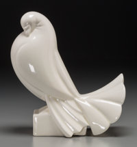 A Jacques Adnet Art Deco Glazed Ceramic Pigeon, circa 1930 Marks: ADNET 8 inches high x 7-1/2 inches
