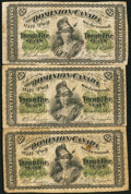 Canadian Currency: , DC-1c 25 Cents 1870 Three Examples. ... (Total: 3 notes)