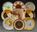 Decorative Arts, Continental:Other , A Group of Nine Assorted Spritzdekor Ceramic Bread-and-ButterPlates, circa 1930. Marks: (various marks). 7-1/4 inches diame...(Total: 9 Items)