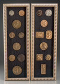 Decorative Arts, French, A Framed Set of Eighteen French Art Deco Bronze Medallions, firsthalf 20th century. 26-1/8 x 8-3/4 inches (66.4 x 22.2 cm) ...(Total: 2 Items)
