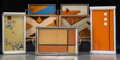 Other, Seven Art Deco and Bauhaus Reverse Painted Trays, circa 1930. 1-1/8x 13-3/8 x 7-5/8 inches (2.9 x 34.0 x 19.4 cm) (largest)... (Total:7 Items)