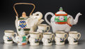 Asian:Japanese, A Nine-Piece Assembled Japanese and Chinese Elephant-Form PartialTea Service, 20th century. Marks: (various marks). 7 inche...(Total: 9 Items)