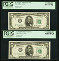 Small Size:Federal Reserve Notes, Fr. 1963-B* $5 1950B Federal Reserve Star Notes Two Examples. PCGS Very Choice New 64PPQ.. ... (Total: 2 notes)