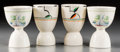 Ceramics & Porcelain, Continental:Other , Two Sets of Modernist and Sailboat Motif Ceramic Egg Cups, circa1930-1950. 4 inches high (10.2 cm) (taller). ... (Total: 9 Items)
