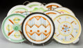 Ceramics & Porcelain, Continental:Modern  (1900 1949)  , A Group of Ten Spritzdekor Art Deco and Bauhaus Ceramic Platters and Trays, circa 1930. Marks: (various marks). 13-1/2 inche... (Total: 10 Items)