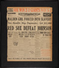 Baseball Collectibles:Others, 1916 Babe Ruth Defeats Walter Johnson Newspaper Headline Display....