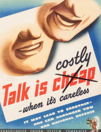American School (20th Century) Talk is Costly, World War II Poster Lithograph in colors 17 x 13 i