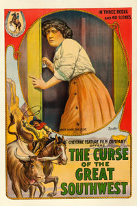 """The Curse of the Great Southwest (Cheyenne Feature Film, 1913). One Sheet (27"""" X 41"""")"""