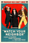 """Movie Posters:Comedy, Watch Your Neighbor (Paramount, 1918). One Sheet (27"""" X 41"""").Comedy.. ..."""