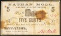Obsoletes By State:Ohio, Middletown, OH- Nathan Moll Saloon and Tin Smith 5¢ Nov. 20, 1862....