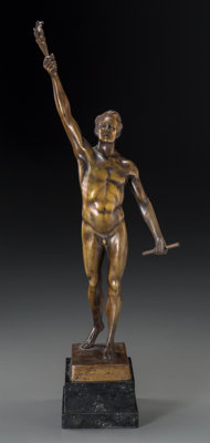 Otto Schmidt-Hofer (German, 1873-1925) Olympian Bronze with brown patina 14 inches (35.6 cm) high