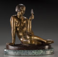 Sculpture, Albert Patrisse (French, 1892-1964). Femme au papillon. Bronze with brown patina. 12 inches (30.5 cm) high on a 1-1/2 in...