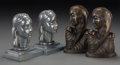 Decorative Arts, Continental, Two Pair of Frankart and Aabbot Schy Art Deco Patinated andSilvered Metal Bookends, circa 1930. 7-1/4 inches high (18.4 cm)...(Total: 2 Items)