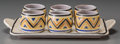 Ceramics & Porcelain, British:Modern  (1900 1949)  , A Seven-Piece Poole Art Deco Glazed Earthenware Egg Cup Set, circa1930. Marks: POOLE, ENGLAND. 9-1/8 inches long (23.2 ...(Total: 7 Items)