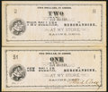 Obsoletes By State:Ohio, Racine, OH- (Waid Cross) $1; $2 ND (1862) . ... (Total: 2 notes)