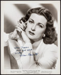 "Movie Posters:Drama, Joan Bennett in The Macomber Affair (United Artists, 1947). Autographed Portrait Photo (8"" X 10""). Drama.. ..."