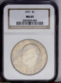 Eisenhower Dollars: , 1971 $1 MS65 NGC; 1972-D MS66 NGC; and a 1976 Type One MS65 NGC,... (Total: 3 Coins)