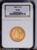 Liberty Eagles: , 1845-O $10 VF20 NGC. PCGS Population (3/110). NGC Census: (11/173).Mintage: 47,500. Numismedia Wsl. Price: $342.(#8593)...