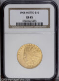 Indian Eagles: , 1908 $10 Motto XF45 NGC. PCGS Population (7/1894). NGC Census:(4/1935). Mintage: 341,300. Numismedia Wsl. Price: $380. (#8...