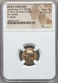 Ancients:Greek, Ancients: SICILY. Syracuse. Ca. 317-289 BC. EL hemistater (3.41gm). NGC Fine 5/5 - 4/5....