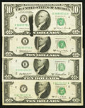 Error Notes:Error Group Lots, A Quartet of $10 Federal Reserve Note Errors. Very Fine or Better..... (Total: 4 notes)