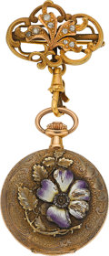 Timepieces:Pocket (post 1900), Swiss Gold & Enamel Art Nouveau Pendant Watch & Diamond Pin. ...