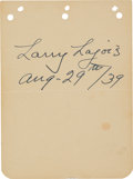 Baseball Collectibles:Others, 1939 Napoleon Lajoie Signed & Notated Album Page. ...