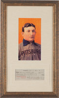 Baseball Collectibles:Others, 1919 Honus Wagner Signed Check Display. ...