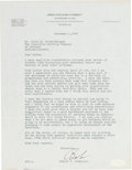 Golf Collectibles:Autographs, 1949 Bobby Jones Signed Letter with Coca-Cola Content. ...