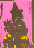 Prints:Contemporary, Ford Beckman (American, b. 1952). Neon Clown (Pink withOrange), 1994. Silkscreen in colors. 34-1/4 x 24-1/2 inches(she...