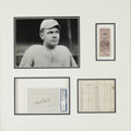 Baseball Collectibles:Others, 1915 Babe Ruth World Series Display with Signed Autograph, TicketStub, Scorecard....