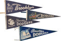 Baseball Collectibles:Others, 1940's-50's Brooklyn Dodgers Pennants Lot of 4. ...