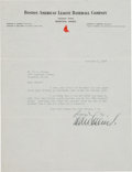Baseball Collectibles:Others, 1937 Eddie Collins Signed Letter to Babe Herman....